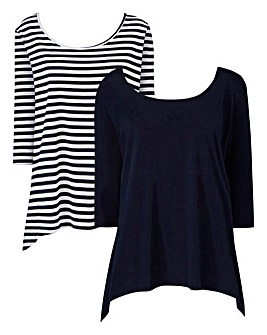 Navy/Stripe Pack of 2 Hanky Hem Tops