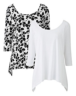 White/Floral Pack of 2 Hanky Hem Tops
