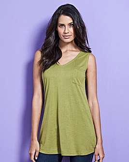 Light Khaki Pocket V-neck Jersey Vest