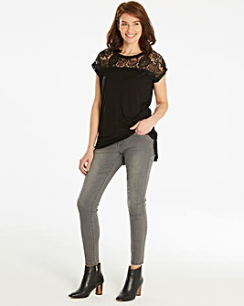 Black Lace Yoke Dip Back T-shirt