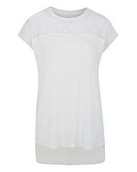 Ivory Lace Yoke Dip Back T-shirt