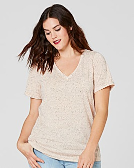 Peach V Neck Neppy Pocket Tshirt