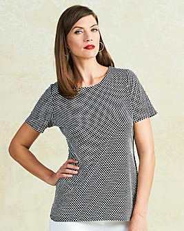 Black Spot Textured Jersey Shell Top