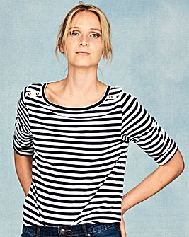 Navy/Stripe Pack of 2 Boat Neck Tops