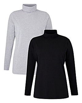 Grey/Black Pack of 2 Rollneck Tops