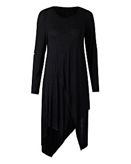 Black Asymmetric Wrap Detail Tunic