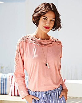 Salmon Pink Crochet Sleeve Jersey Top