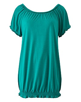 Jade Bubble Hem Plait Detail Gypsy Top