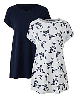 Navy/Print Pack of 2 Boyfriend Tshirts