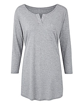 Grey Marl Grandad Neck Top