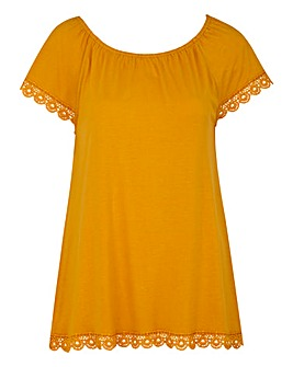 Saffron Gypsy Top With Crochet Trim