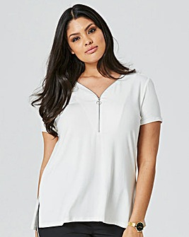Ivory Zip Front Slouch Top