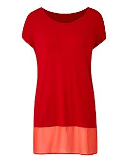 Red Woven Hem T-shirt