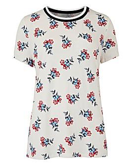 Ivory Floral Sports Rib T-Shirt