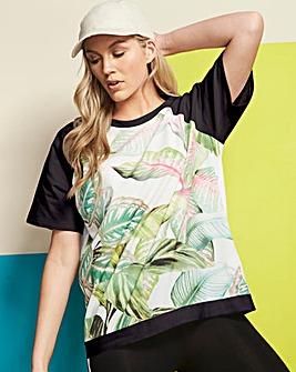 Green Print Woven Front Sweatshirt