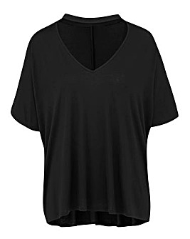 Black Choker Neck Slouch Top