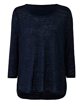 Navy Lightweight Slub 3/4 Sleeve Top