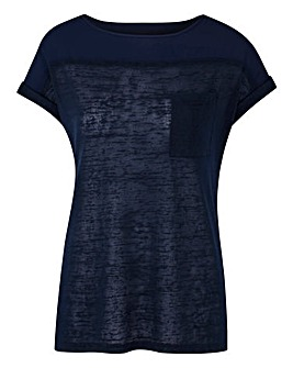 Navy Lightweight Slub Short Sleeve Top