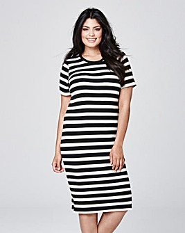 Black/White Stripe Knit Bodycon Dress