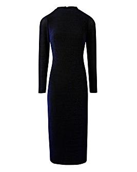 Blue Glitter Jersey Midi Dress