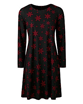 Jersey Red Snowflake Print Swing Dress
