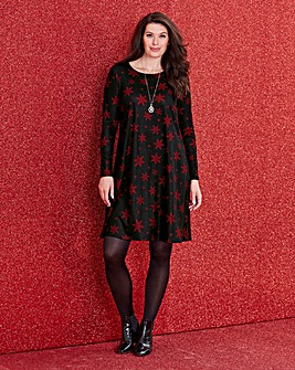 Jersey Red Snowflake Print Swing Dress