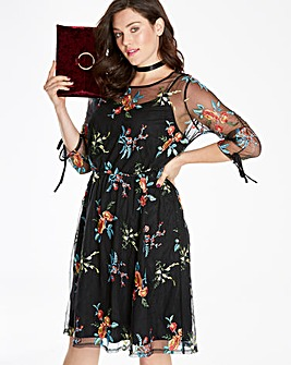 Embroidered Ruched Sleeve Dress