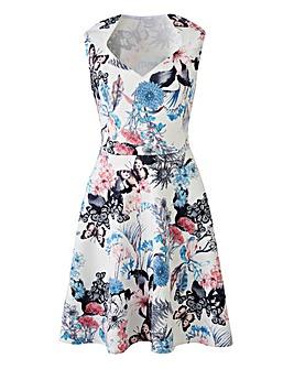 Ivory Print Sweetheart Skater Dress