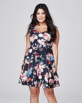 Black Print Sweetheart Skater Dress