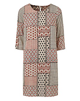 Tile Print Tunic Shift Dress