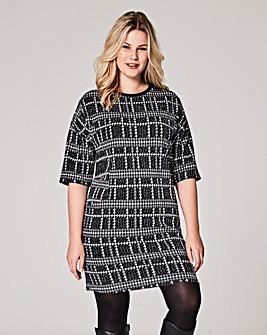 Black Check Pocket Shift Dress