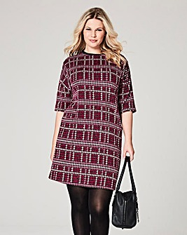 Berry Check Pocket Shift Dress