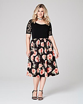 Black Red Floral Skater Prom Dress