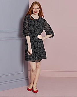 Shirred Sleeve Shift Dress
