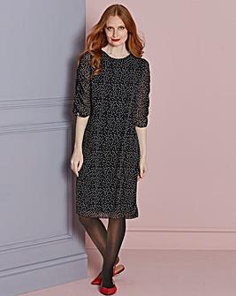 Shirred Sleeve Shift Dress