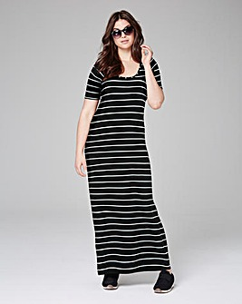 Black Stripe Jersey Maxi T-shirt Dress