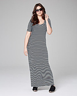 Navy Stripe Jersey Maxi T-shirt Dress