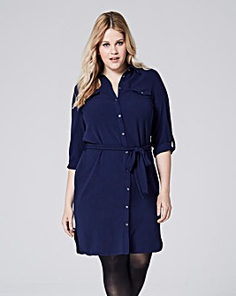Dark Ink Button Sleeve Shirt Dress