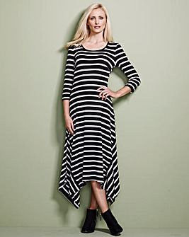 Black/Ivory Stripe Asymmetric Dress