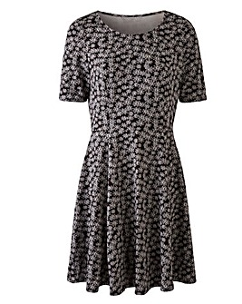 Black/Ivory Jacquard Skater Dress