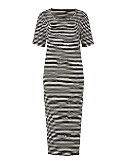 Black/ Ivory Rib Jersey Bodycon Dress