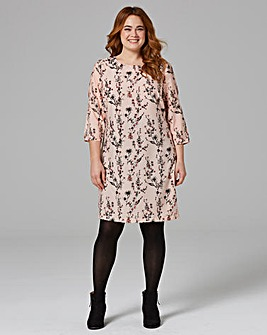 Pink Print Split Sleeve Tunic Dress