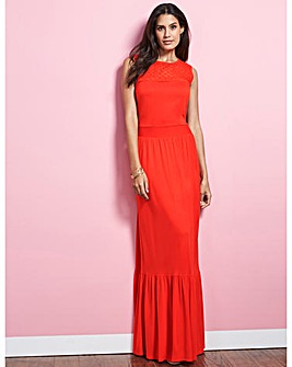 Lace Yoke Maxi Dress