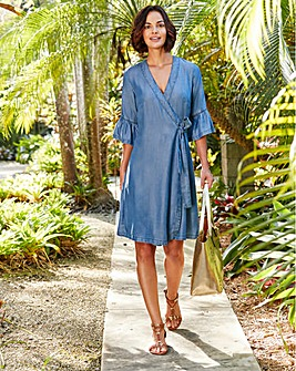 Soft Lyocell Denim Wrap Front Dress