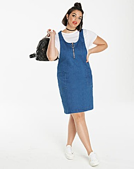 Denim Pinafore Dress Length 36in