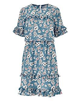 Blue Floral Mini Ruffle Dress