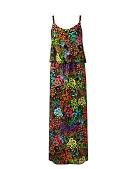 Black Floral Layer Maxi Dress