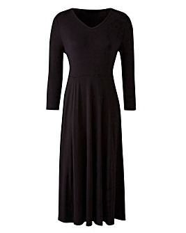 Black V-Neck Jersey Midi Dress - 45in