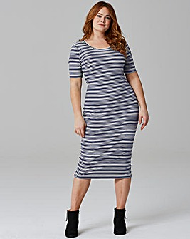 Navy Stripe Rib Jersey Bodycon Dress