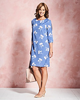 Blue Print Split Sleeve Tunic Dress